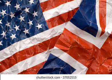 united kingdom and united states of america flags detail photo