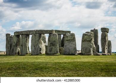 United Kingdom, Stonehenge with  green fields near Salisbury, Wiltshire UK. in England
