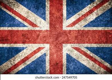 United Kingdom UK flag on the grunge concrete wall
