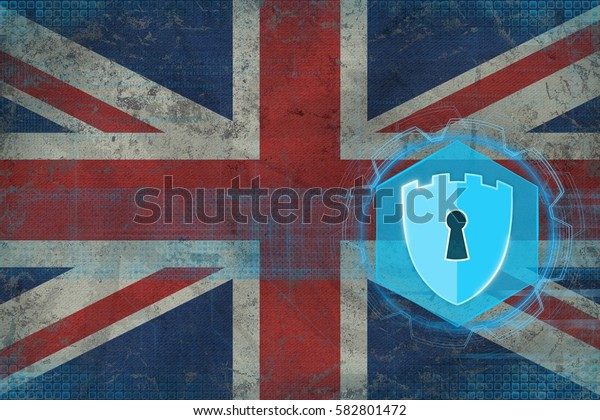 United Kingdom (UK) network security. Electronic security concept.