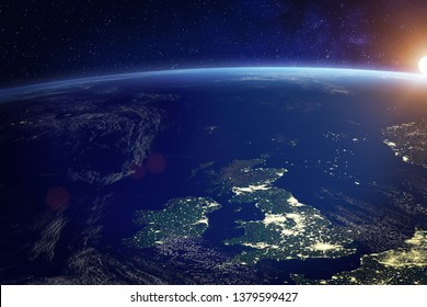 United Kingdom (UK) from space at night with city lights of the City of London, England, Wales, Scotland, Northern Ireland, communication technology, 3d render of planet Earth, elements from NASA