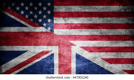United Kingdom and USA dark flag texture