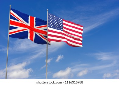 United Kingdom and USA flags over blue sky background. 3D illustration