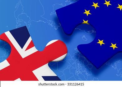 United Kingdom versus Europe puzzle concept.