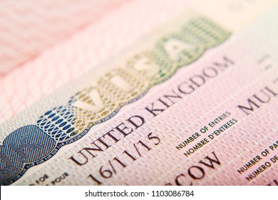 United Kingdom visa in a passport