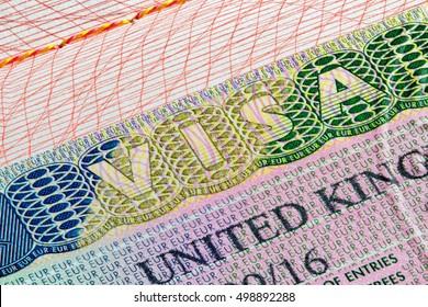 United Kingdom visa stamp in passport