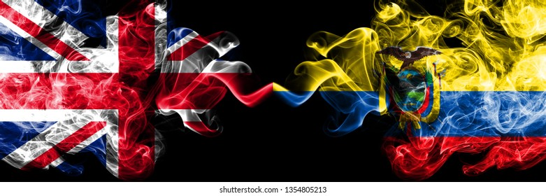 United Kingdom vs Ecuador, Ecuadorian smoky mystic flags placed side by side. Thick colored silky smoke flags of Great Britain and Ecuador, Ecuadorian.