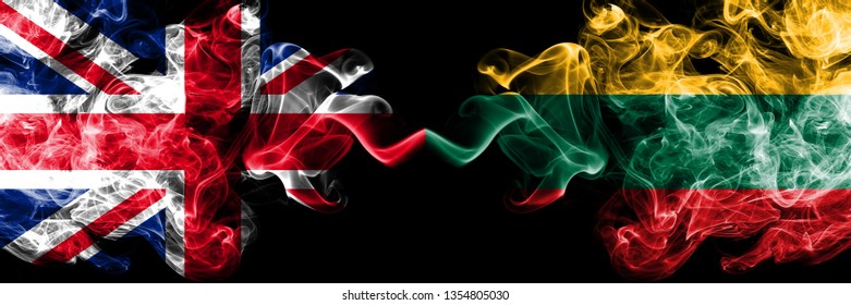United Kingdom vs Lithuania, Lithuanian smoky mystic flags placed side by side. Thick colored silky smoke flags of Great Britain and Lithuania, Lithuanian.