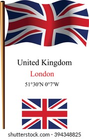 united kingdom wavy flag and coordinates against white background, art illustration, image contains transparency