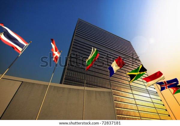 The United Nations building at sunset