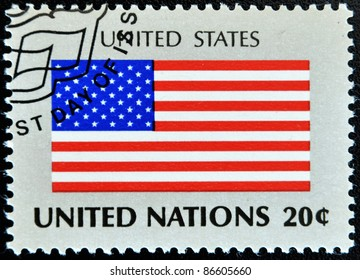 UNITED NATIONS - CIRCA 1981: A stamp printed by United Nations shows flag united states os america, circa 1981