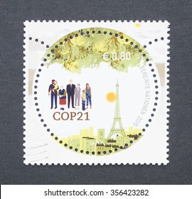 UNITED NATIONS - CIRCA 2015: a postage stamp printed in United Nations commemorative of the 2015 United Nations Climate Change Conference, circa 2015.