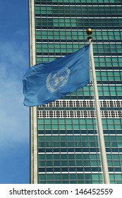 United Nations Flag in front of UN Headquarter in New York
