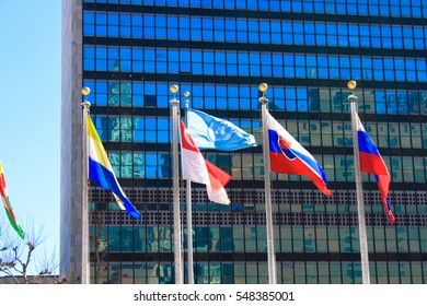 United Nations Headquarters Flags, New York