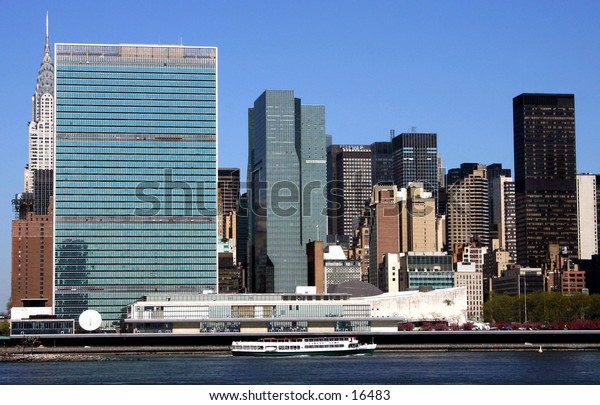 United Nations and New York skyline