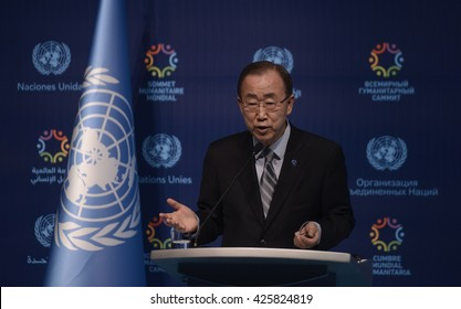 United Nations (UN) Secretary-General Ban Ki-moon peak during world humanitarian summit in Istanbul, Turkey, 24 May 2016