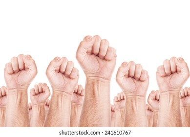 United people, labor movement, workers union strike concept with male fists raised in the air fighting for their rights. Isolated on white background.