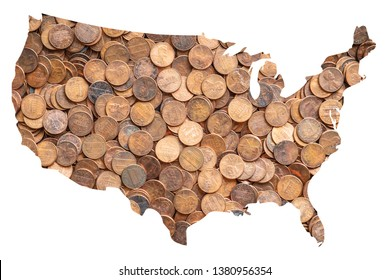 United Sates of America USA Map and Money Concept, Piles of Coins, Pennies