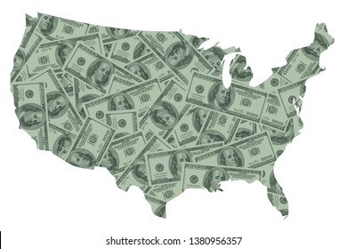 United Sates of America USA Map and Money Concept, Hundred Dollar Bills