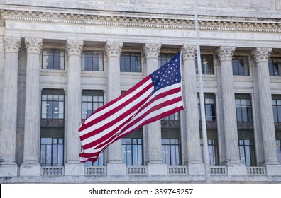 United State of America Flag waving on the pole. 2015