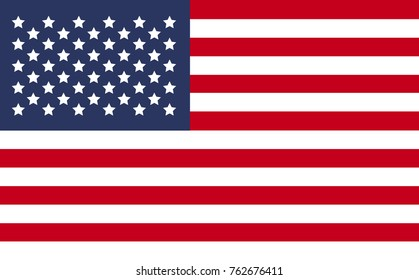 United State of America USA flag isolated  in official colors and Proportion Correctly.