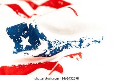 United State Of America Wavy Flag Background, Wavy Flag of the United States over white background