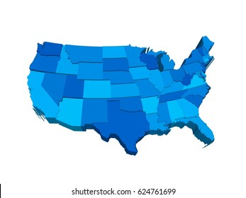 United States 3D map, extruded in perspective. Illustration with separated states of different height and shades of blue, rendered using GIS data.