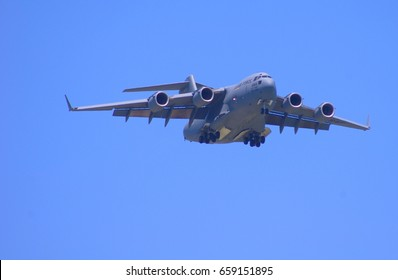 United States Air Force C-17 Globemaster Approaching Runway at Scott Air Force Base, IL Airshow on June 10, 2017. Photo By Philip Rozenski of Shiloh IL