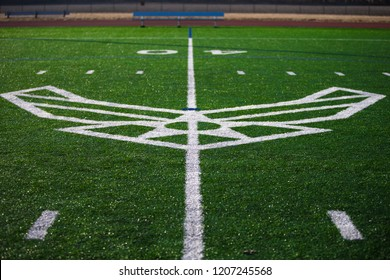 United States Air Force, USAF, emblem logo painted white on a green astroturf football soccer field.