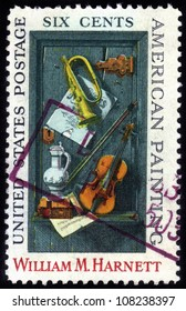 UNITED STATES OF AMERICA - 1969: A stamp printed in the United States of America shows image of a painting by William M. Harnett, series, 1969
