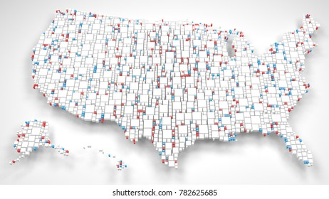 United States of America, 3D Rendering, mosaic of little bricks - White and Flag Colors
