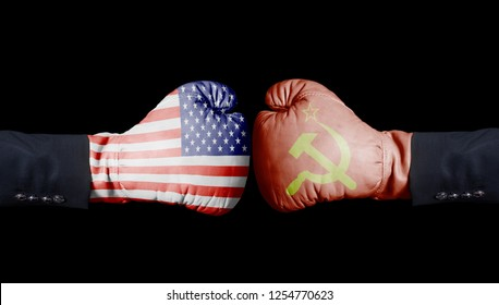 United States of America against USSR boxing gloves, USA vs. USSR concept