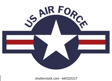 United States of America Air Force Roundel on White Background