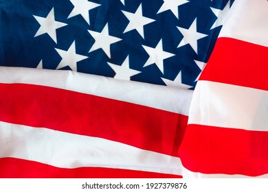 United States of America, American Flag on Fabric texture