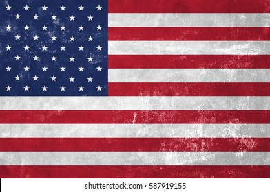 United States Of America - American National Flag on Old Grunge Texture Background