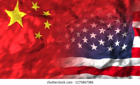 United States of America and China flag.