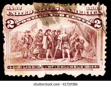 UNITED STATES OF AMERICA - CIRCA 1892: A stamp printed in the United States shows image celebrating the landing of Christopher Columbus in North America, series, circa 1892