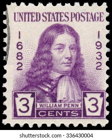 UNITED STATES OF AMERICA - CIRCA 1932 - Stamp printed in USA shows William Penn - an English real estate entrepreneur, philosopher, and founder of the Province of Pennsylvania, circa 1932