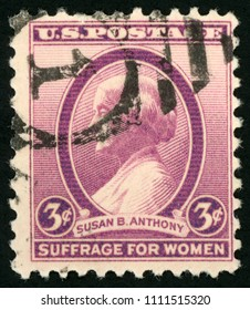 UNITED STATES OF AMERICA - CIRCA 1936: post stamp printed in US (USA) shows portrait of Susan B. Anthony; reformer and womens rights activist;  suffrage for women, Scott 784 A257 3c violet; circa 1936