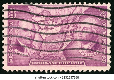 UNITED STATES OF AMERICA - CIRCA 1937: stamp printed in USA (US) shows Manasseh Cutler, Rufus Putnam and map of Northwest territory; ordinance of 1787; Scott 795 A268 3c red violet; circa 1937