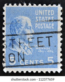 UNITED STATES OF AMERICA - CIRCA 1938: A stamp printed in USA shows James Monroe, 5th President of USA, circa 1938
