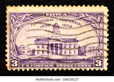 UNITED STATES OF AMERICA - CIRCA 1938: Stamps printed in United State of America with image of the old Capitol building to commemorate Iowa Territorial Centennial, circa 1938.