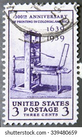 UNITED STATES OF AMERICA - CIRCA 1939: A stamp printed in USA celebrating the 300th Anniversary of Printing in Colonial America, circa 1939.