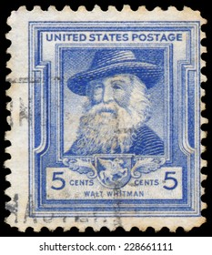 UNITED STATES OF AMERICA - CIRCA 1940: A stamp printed in USA shows Walt Whitman, circa 1940