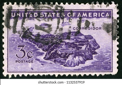 UNITED STATES OF AMERICA - CIRCA 1944: stamp printed in USA (US) shows aerial view of Corregidor; Philippines issue; Scott 925 A372 3c violet; circa 1944