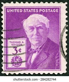 UNITED STATES OF AMERICA - CIRCA 1947: A stamp printed in USA shows portrait of Thomas Alva Edison (1847-1931), inventor and businessman, 100th birth anniversary, circa 1947