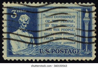 UNITED STATES OF AMERICA - CIRCA 1948: A stamp printed in USA dedicated to 85th Anniversary of Abraham Lincoln address at Gettysburg, shows Lincoln and Quotation from Gettysburg Address, circa 1948