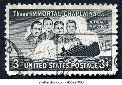 UNITED STATES OF AMERICA - CIRCA 1948: A used postage stamp from the USA from the 5th Anniversary of the sinking of the SS Dorchester and commemorates the lives lost, circa 1948.