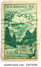 UNITED STATES OF AMERICA - CIRCA 1952: A stamp printed in the United States of America shows image celebrates 25 years since work started on the Mount Rushmore National Memorial, series, circa 1952