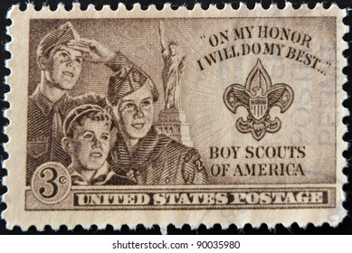 UNITED STATES OF AMERICA - CIRCA 1953 : stamp printed in USA show Boy Scouts of America, circa 1953